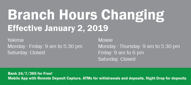 Branch Hours Changing