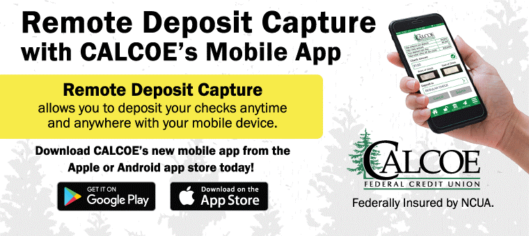 Use CALCOE's Remote Deposit Capture with Mobile App for Free!